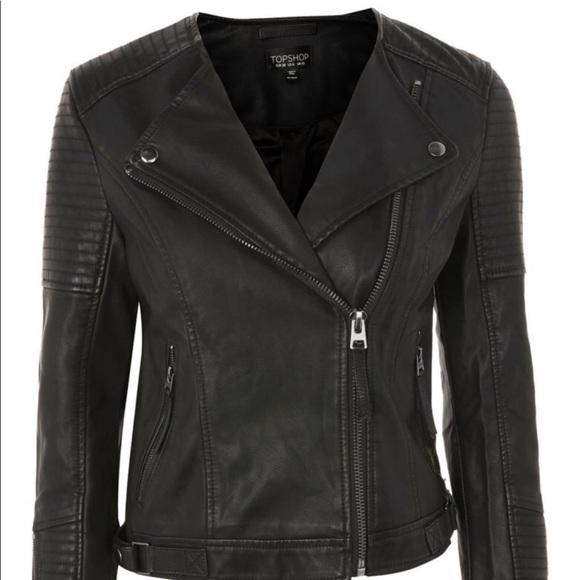 Topshop Jackets & Blazers - Top Shop Luna Faux Leather Biker Jacket